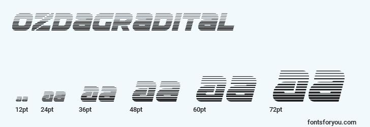sizes of ozdagradital font, ozdagradital sizes