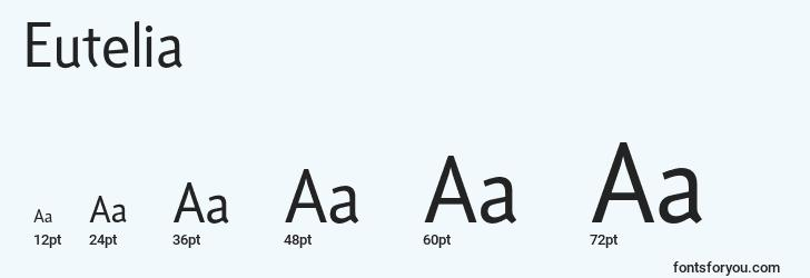 sizes of eutelia font, eutelia sizes