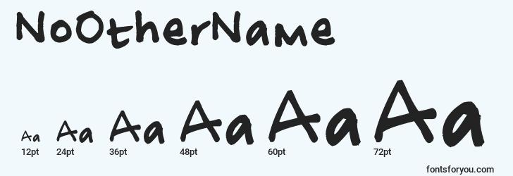 sizes of noothername font, noothername sizes