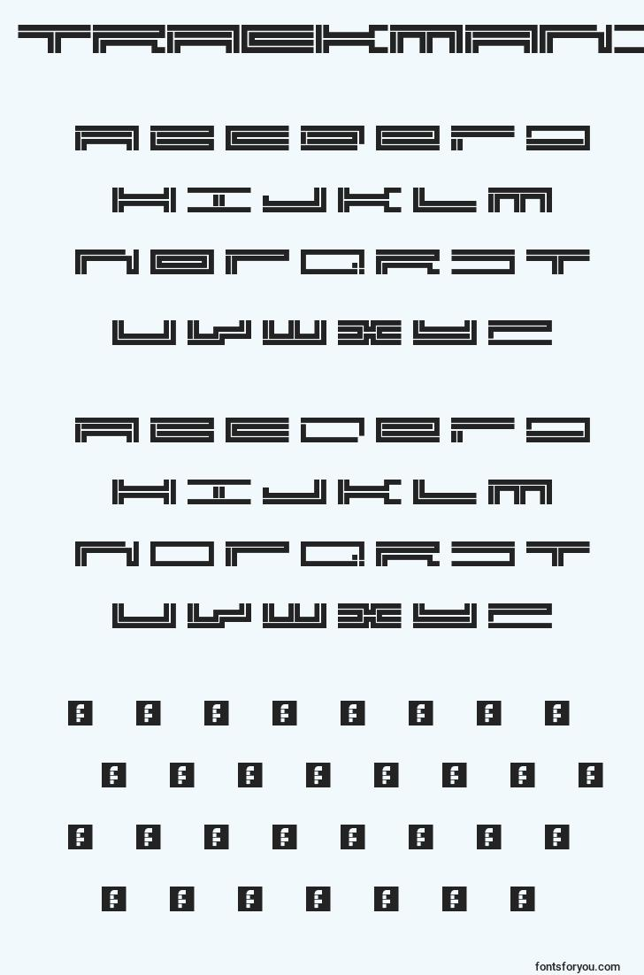 characters of trackmanic font, letter of trackmanic font, alphabet of  trackmanic font