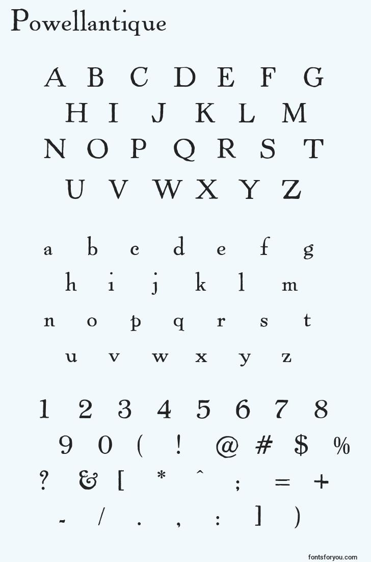 characters of powellantique font, letter of powellantique font, alphabet of  powellantique font