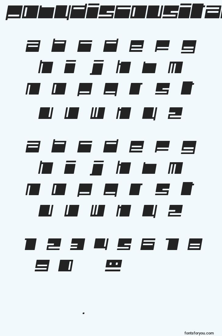 characters of polydiscousitalic font, letter of polydiscousitalic font, alphabet of  polydiscousitalic font