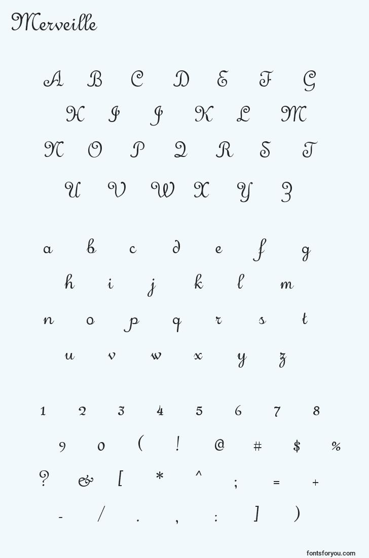 characters of merveille font, letter of merveille font, alphabet of  merveille font
