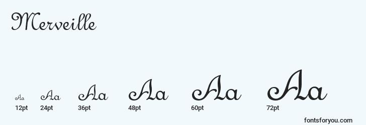 sizes of merveille font, merveille sizes