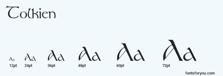 sizes of tolkien font, tolkien sizes
