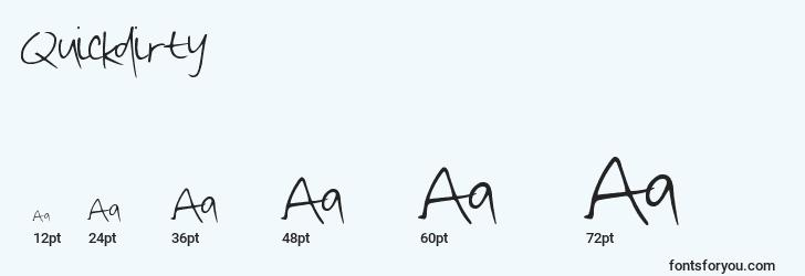 sizes of quickdirty font, quickdirty sizes