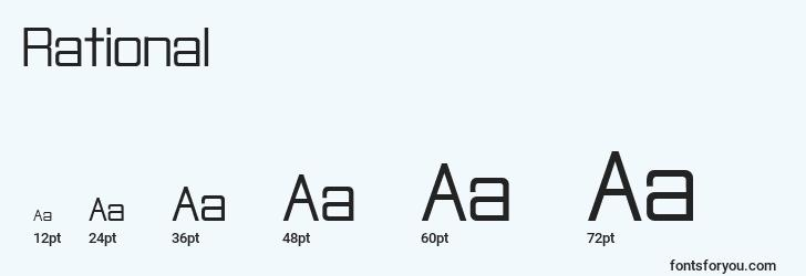 sizes of rational font, rational sizes