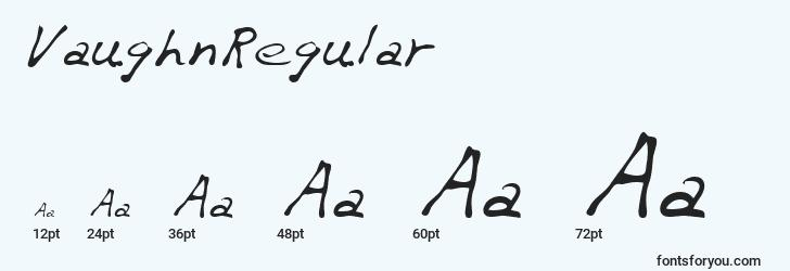 sizes of vaughnregular font, vaughnregular sizes