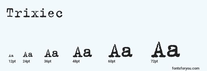 sizes of trixiec font, trixiec sizes