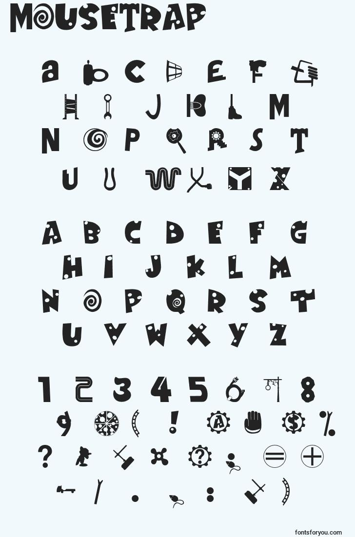 characters of mousetrap font, letter of mousetrap font, alphabet of  mousetrap font