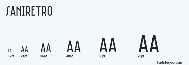 sizes of saniretro font, saniretro sizes