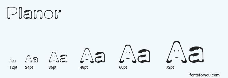 sizes of planor font, planor sizes