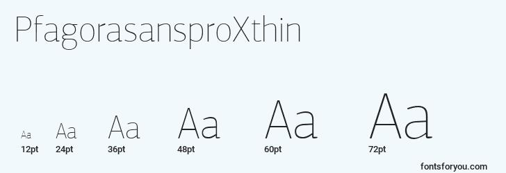 sizes of pfagorasansproxthin font, pfagorasansproxthin sizes