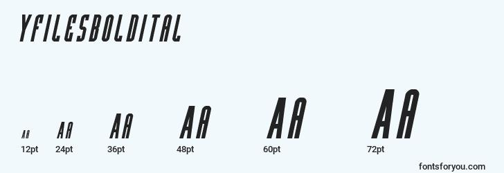 sizes of yfilesboldital font, yfilesboldital sizes