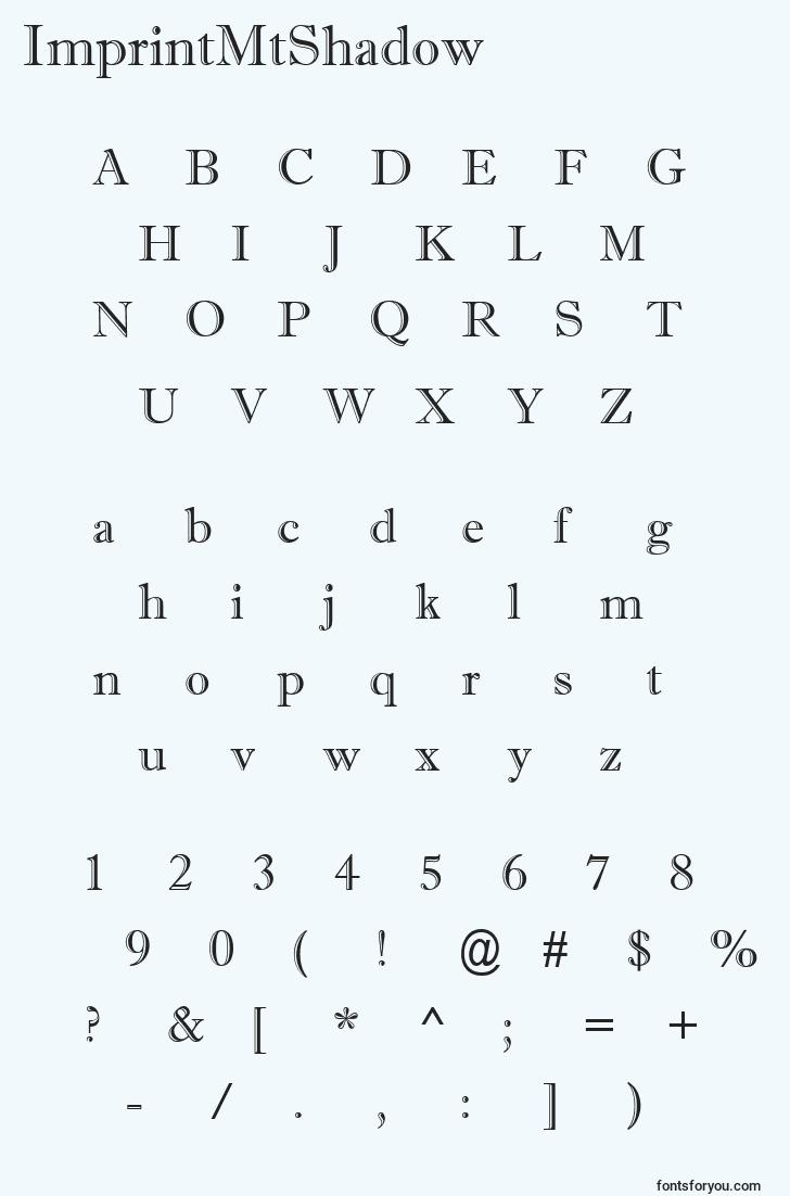characters of imprintmtshadow font, letter of imprintmtshadow font, alphabet of  imprintmtshadow font