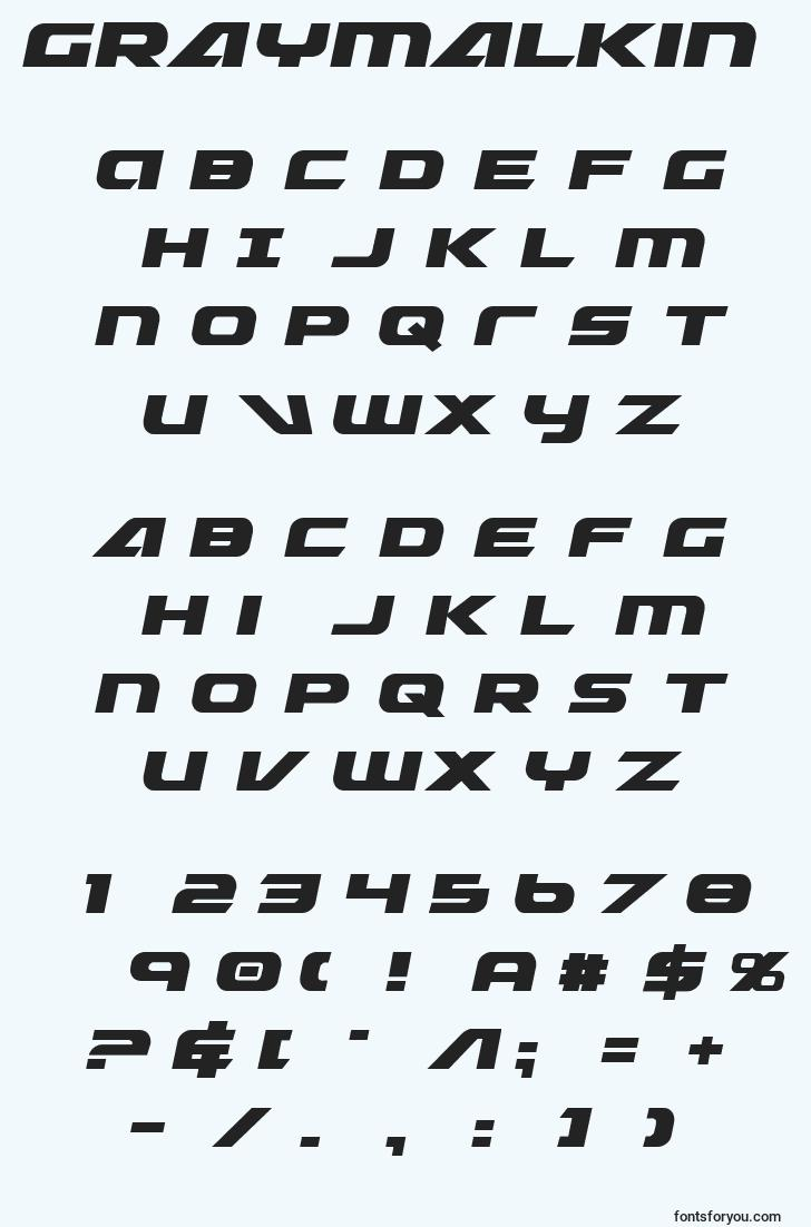 characters of graymalkin font, letter of graymalkin font, alphabet of  graymalkin font