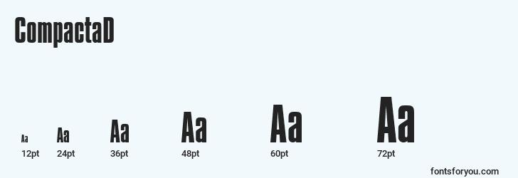 sizes of compactad font, compactad sizes