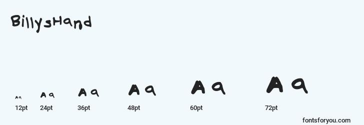 sizes of billyshand font, billyshand sizes