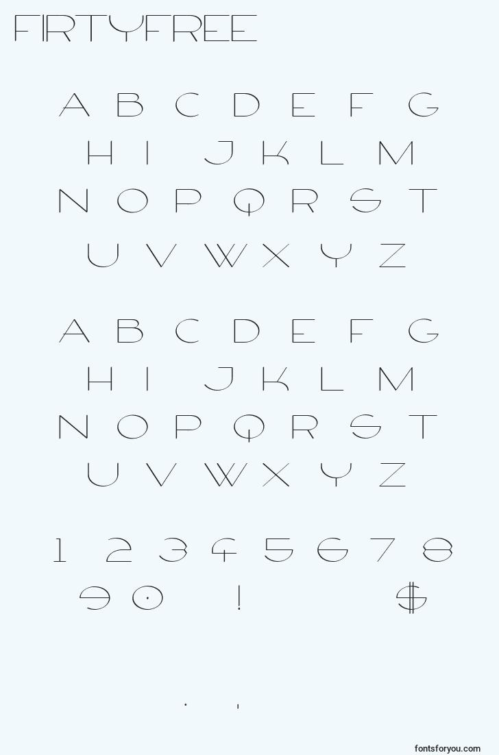 characters of firtyfree font, letter of firtyfree font, alphabet of  firtyfree font