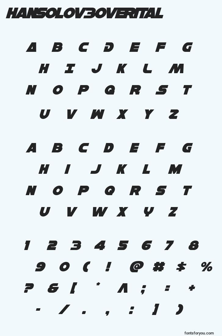 characters of hansolov3overital font, letter of hansolov3overital font, alphabet of  hansolov3overital font