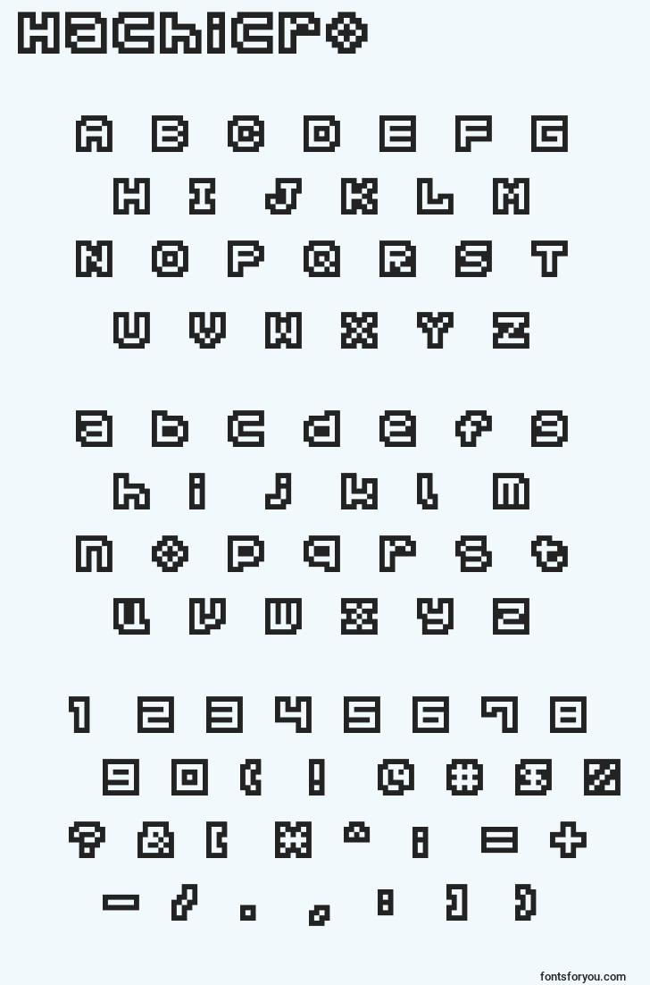 characters of hachicro font, letter of hachicro font, alphabet of  hachicro font