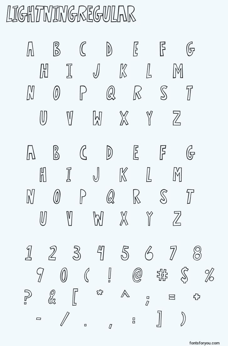 characters of lightningregular font, letter of lightningregular font, alphabet of  lightningregular font