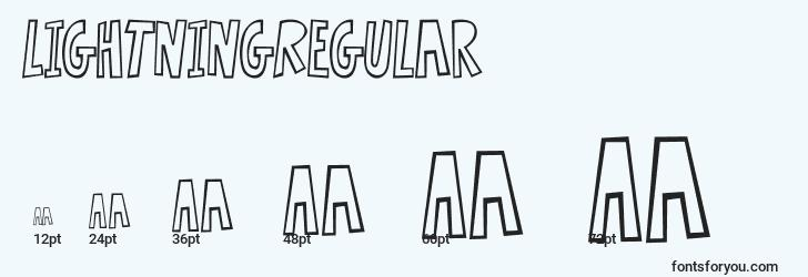 sizes of lightningregular font, lightningregular sizes