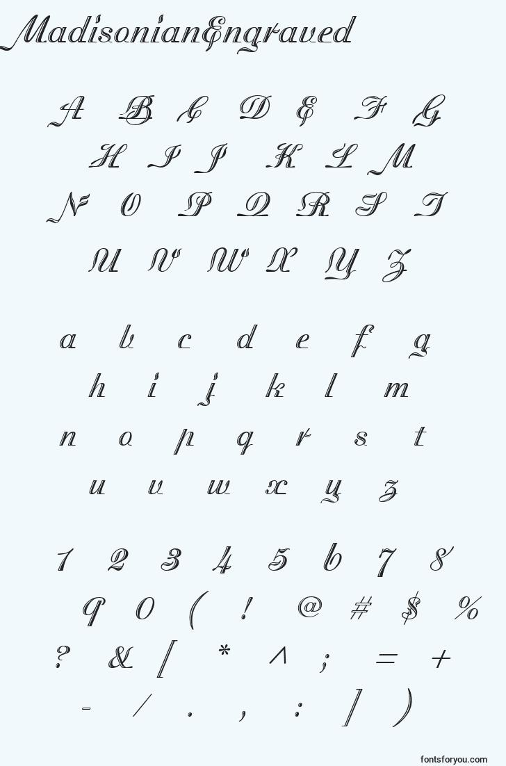 characters of madisonianengraved font, letter of madisonianengraved font, alphabet of  madisonianengraved font
