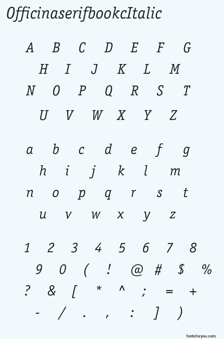 characters of officinaserifbookcitalic font, letter of officinaserifbookcitalic font, alphabet of  officinaserifbookcitalic font