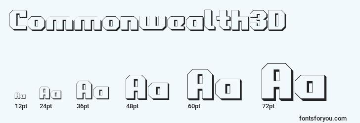 sizes of commonwealth3d font, commonwealth3d sizes