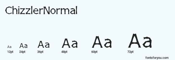 sizes of chizzlernormal font, chizzlernormal sizes