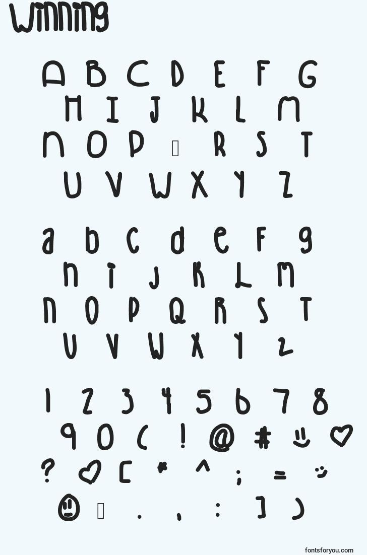characters of winning font, letter of winning font, alphabet of  winning font
