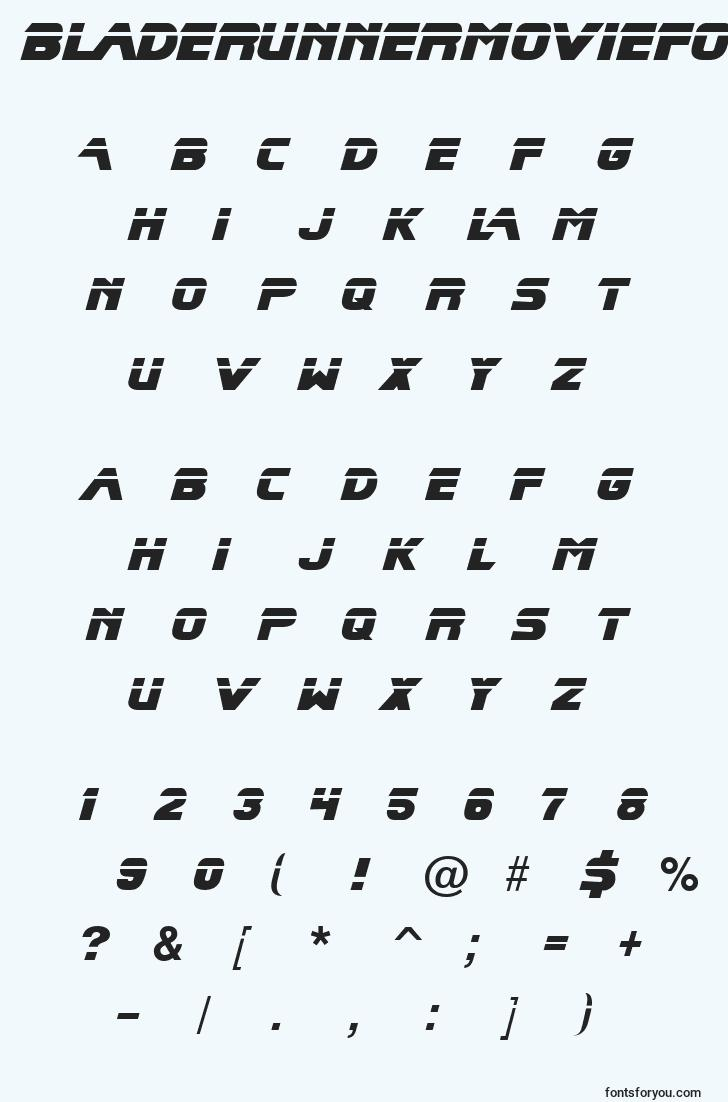 characters of bladerunnermoviefont font, letter of bladerunnermoviefont font, alphabet of  bladerunnermoviefont font