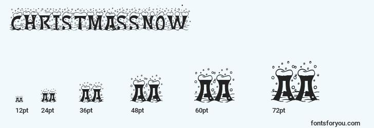 sizes of christmassnow font, christmassnow sizes
