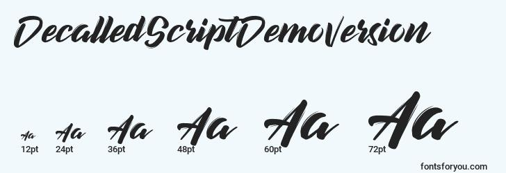 sizes of decalledscriptdemoversion font, decalledscriptdemoversion sizes