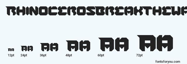 sizes of rhinocerosbreakthewall font, rhinocerosbreakthewall sizes