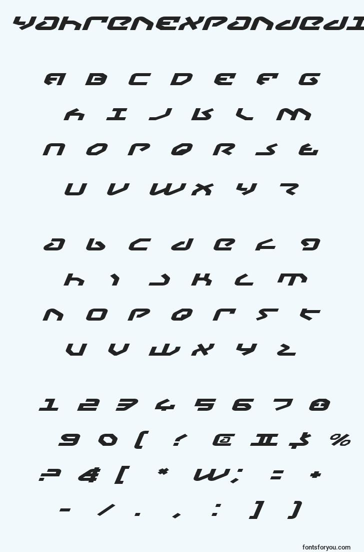 characters of yahrenexpandeditalic font, letter of yahrenexpandeditalic font, alphabet of  yahrenexpandeditalic font
