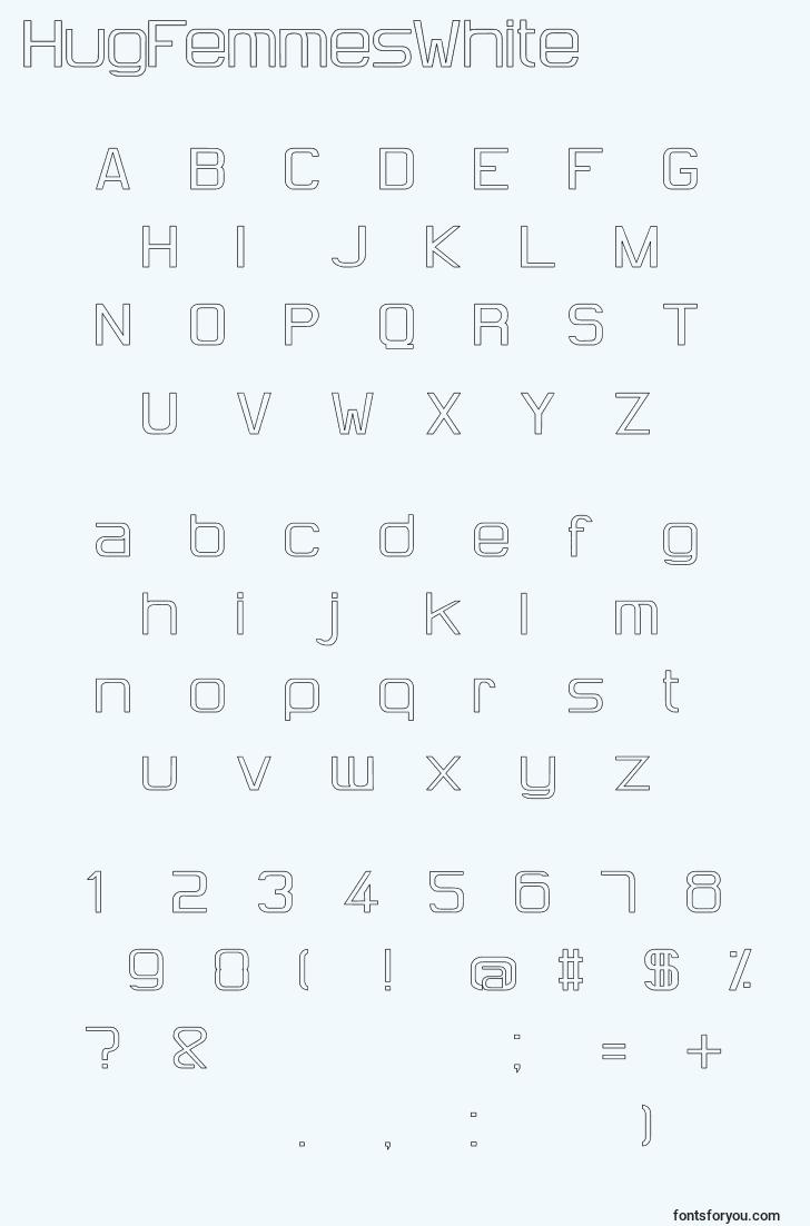 characters of hugfemmeswhite font, letter of hugfemmeswhite font, alphabet of  hugfemmeswhite font