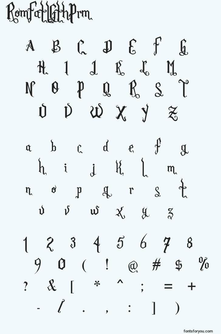 characters of romfatlgthprm font, letter of romfatlgthprm font, alphabet of  romfatlgthprm font