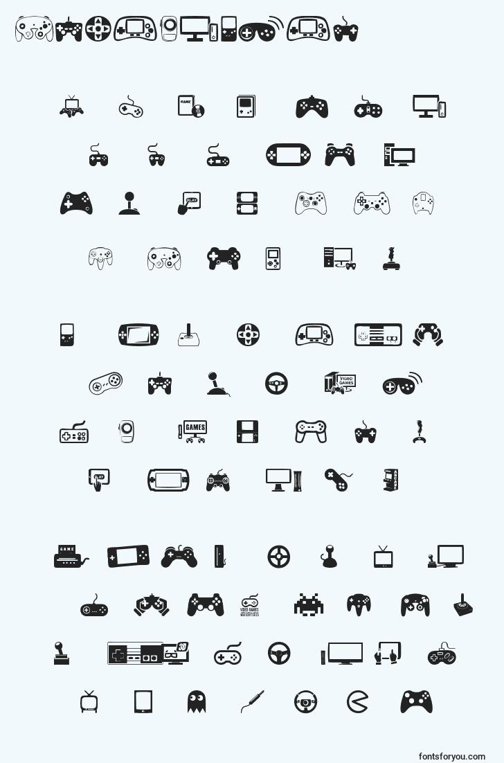 characters of videogames font, letter of videogames font, alphabet of  videogames font