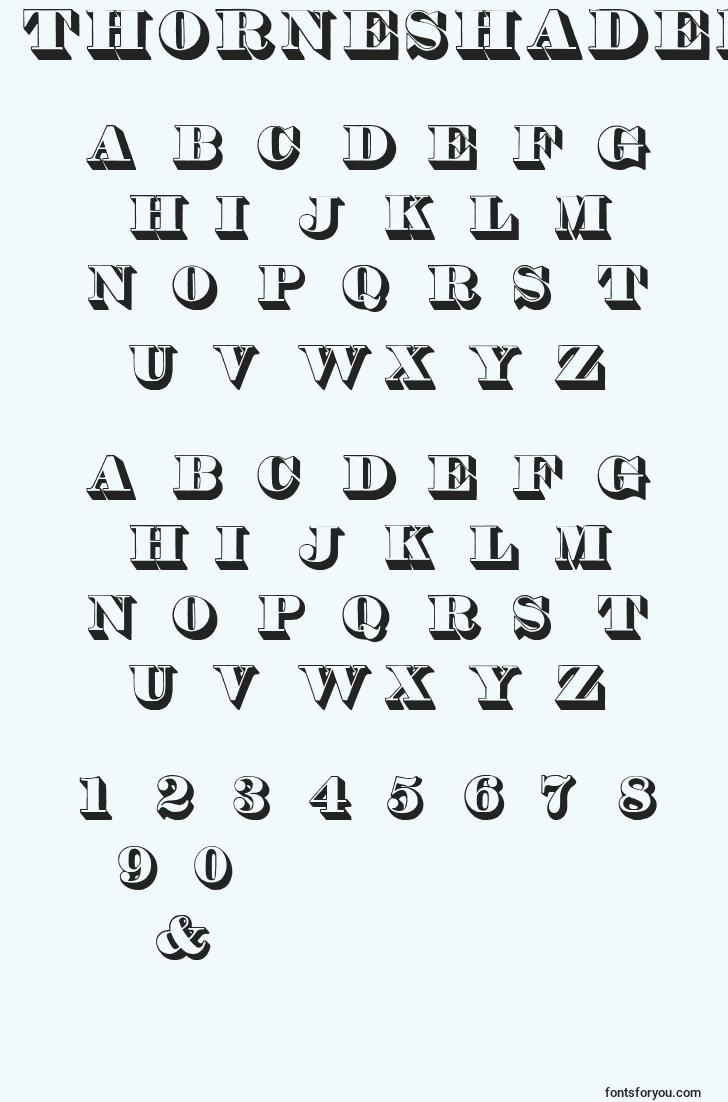 characters of thorneshaded font, letter of thorneshaded font, alphabet of  thorneshaded font