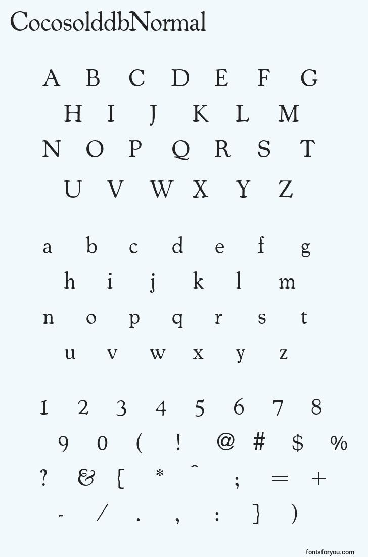 characters of cocosolddbnormal font, letter of cocosolddbnormal font, alphabet of  cocosolddbnormal font