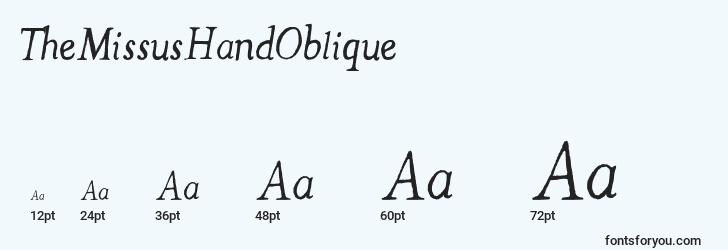 sizes of themissushandoblique font, themissushandoblique sizes