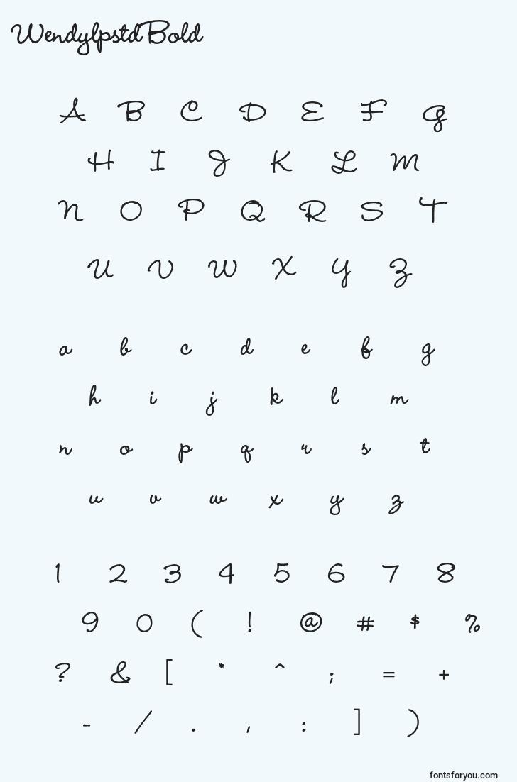 characters of wendylpstdbold font, letter of wendylpstdbold font, alphabet of  wendylpstdbold font