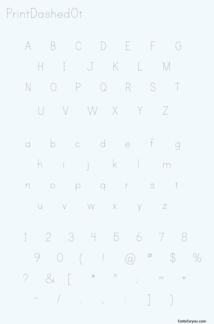 characters of printdashedot font, letter of printdashedot font, alphabet of  printdashedot font