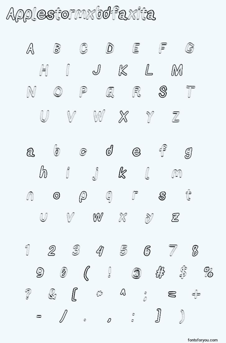 characters of applestormxbdfaxita font, letter of applestormxbdfaxita font, alphabet of  applestormxbdfaxita font