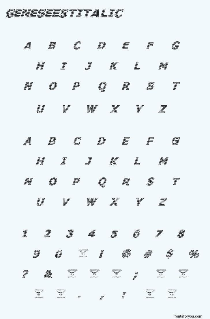 characters of geneseestitalic font, letter of geneseestitalic font, alphabet of  geneseestitalic font