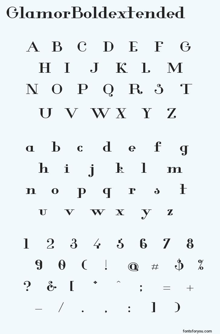 characters of glamorboldextended font, letter of glamorboldextended font, alphabet of  glamorboldextended font