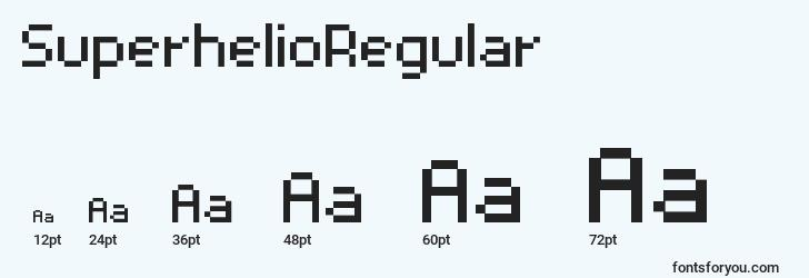 sizes of superhelioregular font, superhelioregular sizes