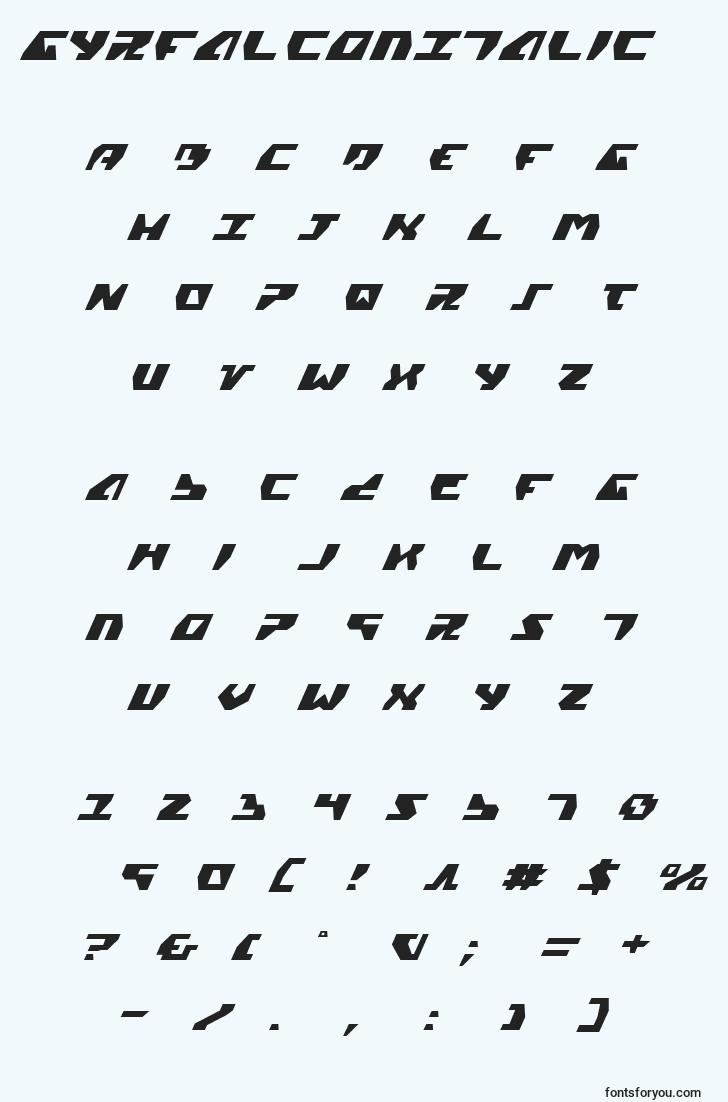 characters of gyrfalconitalic font, letter of gyrfalconitalic font, alphabet of  gyrfalconitalic font